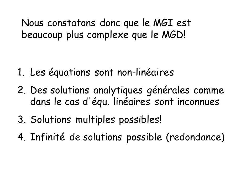Nous constatons donc que le MGI est beaucoup plus complexe que le MGD! 1.Les équations sont non-linéaires 2.Des solutions analytiques générales comme