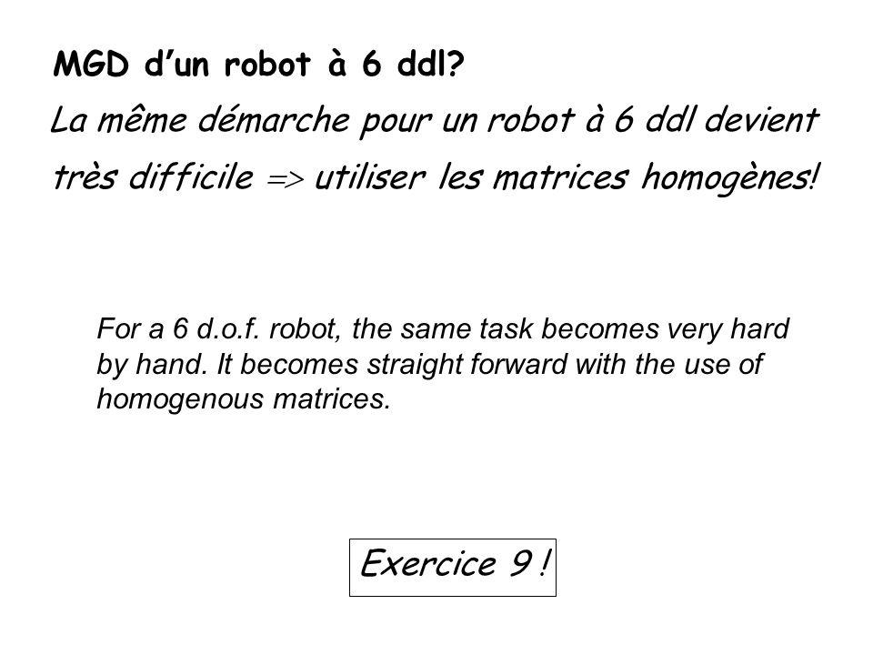 MGD dun robot à 6 ddl? La même démarche pour un robot à 6 ddl devient très difficile utiliser les matrices homogènes! Exercice 9 ! For a 6 d.o.f. robo