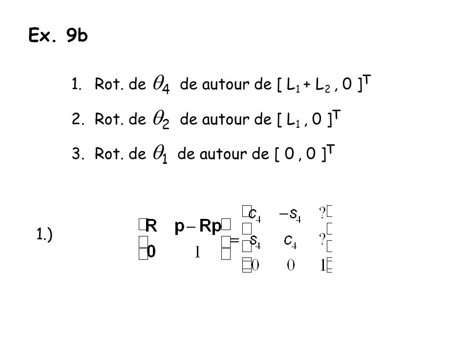Ex. 9b 1.Rot. de 4 de autour de [ L 1 + L 2, 0 ] T 2.Rot. de 2 de autour de [ L 1, 0 ] T 3.Rot. de 1 de autour de [ 0, 0 ] T 1.)