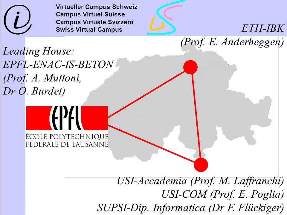 Leading House: EPFL-ENAC-IS-BETON (Prof. A. Muttoni, Dr O. Burdet) ETH-IBK (Prof. E. Anderheggen) USI-Accademia (Prof. M. Laffranchi) USI-COM (Prof. E