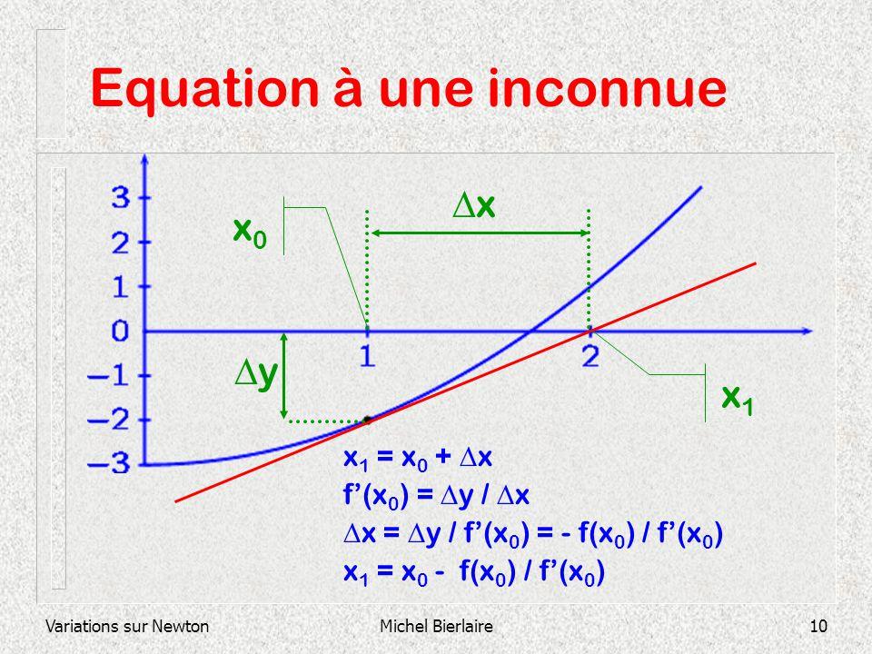 Variations sur NewtonMichel Bierlaire10 Equation à une inconnue x 1 = x 0 + x f(x 0 ) = y / x x = y / f(x 0 ) = - f(x 0 ) / f(x 0 ) x 1 = x 0 - f(x 0