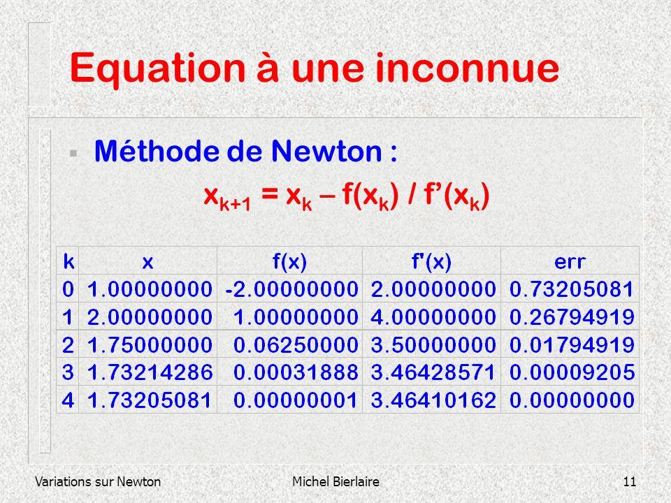 Variations sur NewtonMichel Bierlaire11 Equation à une inconnue Méthode de Newton : x k+1 = x k – f(x k ) / f(x k )