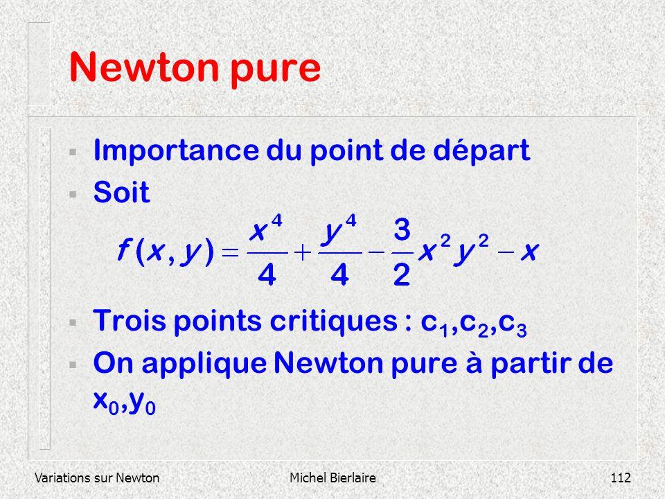 Variations sur NewtonMichel Bierlaire112 Newton pure Importance du point de départ Soit Trois points critiques : c 1,c 2,c 3 On applique Newton pure à