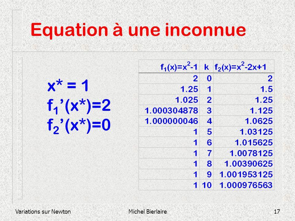 Variations sur NewtonMichel Bierlaire17 Equation à une inconnue x* = 1 f 1 (x*)=2 f 2 (x*)=0