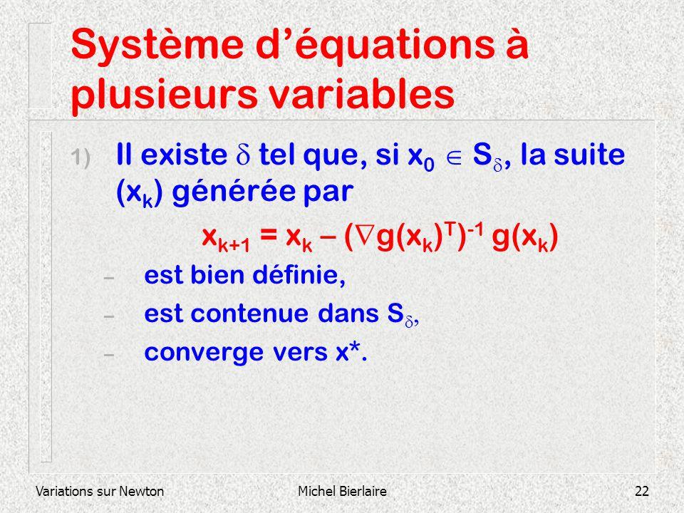 Variations sur NewtonMichel Bierlaire22 Système déquations à plusieurs variables 1) Il existe tel que, si x 0 S, la suite (x k ) générée par x k+1 = x