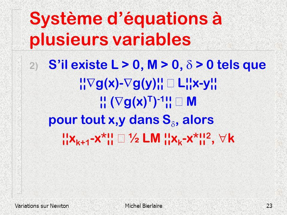Variations sur NewtonMichel Bierlaire23 Système déquations à plusieurs variables 2) Sil existe L > 0, M > 0, > 0 tels que ¦¦ g(x)- g(y)¦¦ L¦¦x-y¦¦ ¦¦