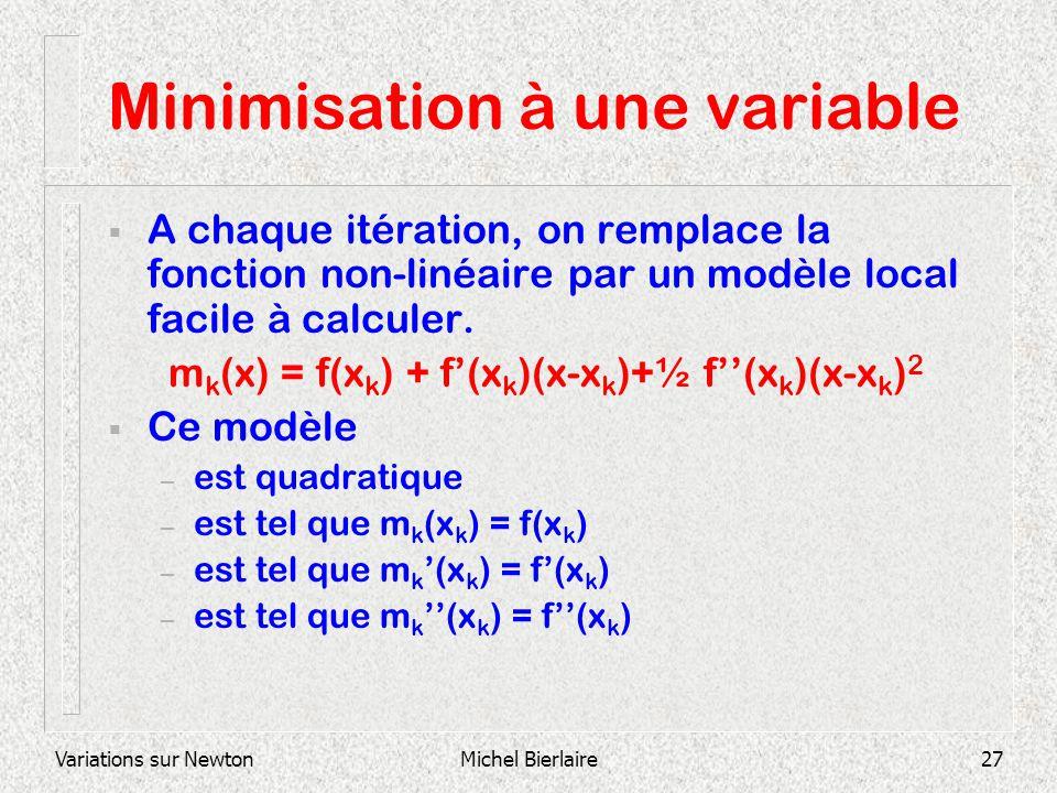 Variations sur NewtonMichel Bierlaire27 Minimisation à une variable A chaque itération, on remplace la fonction non-linéaire par un modèle local facil