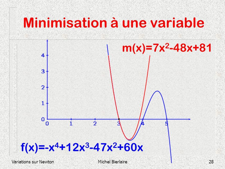 Variations sur NewtonMichel Bierlaire28 Minimisation à une variable f(x)=-x 4 +12x 3 -47x 2 +60x m(x)=7x 2 -48x+81