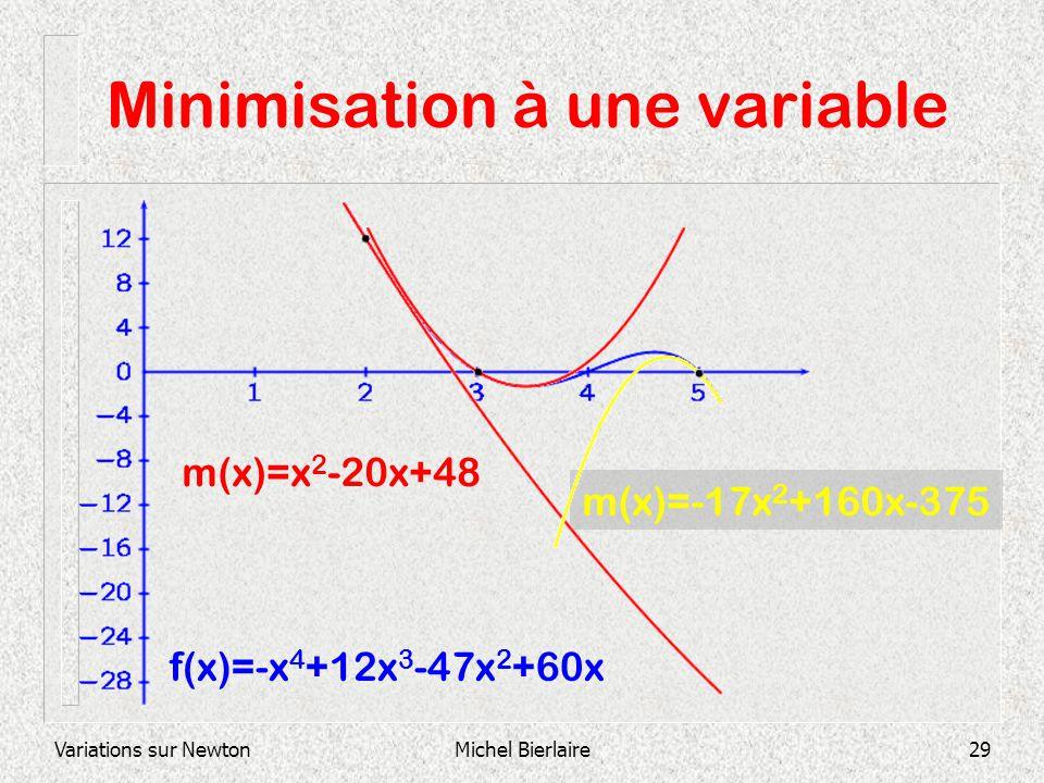 Variations sur NewtonMichel Bierlaire29 m(x)=-17x 2 +160x-375 Minimisation à une variable f(x)=-x 4 +12x 3 -47x 2 +60x m(x)=x 2 -20x+48