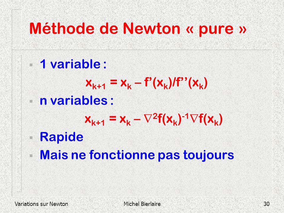 Variations sur NewtonMichel Bierlaire30 Méthode de Newton « pure » 1 variable : x k+1 = x k – f(x k )/f(x k ) n variables : x k+1 = x k – 2 f(x k ) -1