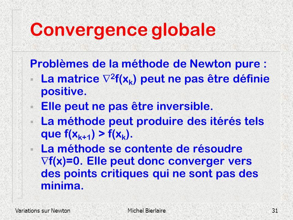 Variations sur NewtonMichel Bierlaire31 Convergence globale Problèmes de la méthode de Newton pure : La matrice 2 f(x k ) peut ne pas être définie pos