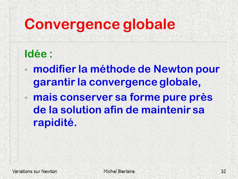 Variations sur NewtonMichel Bierlaire32 Convergence globale Idée : modifier la méthode de Newton pour garantir la convergence globale, mais conserver