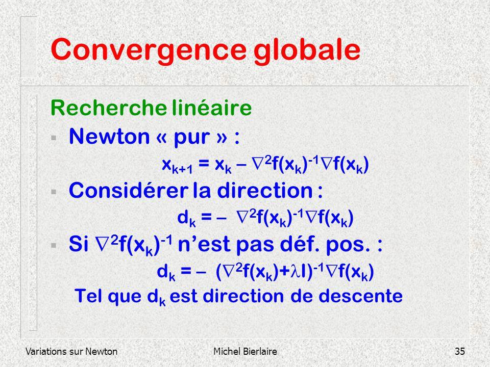 Variations sur NewtonMichel Bierlaire35 Convergence globale Recherche linéaire Newton « pur » : x k+1 = x k – 2 f(x k ) -1 f(x k ) Considérer la direc