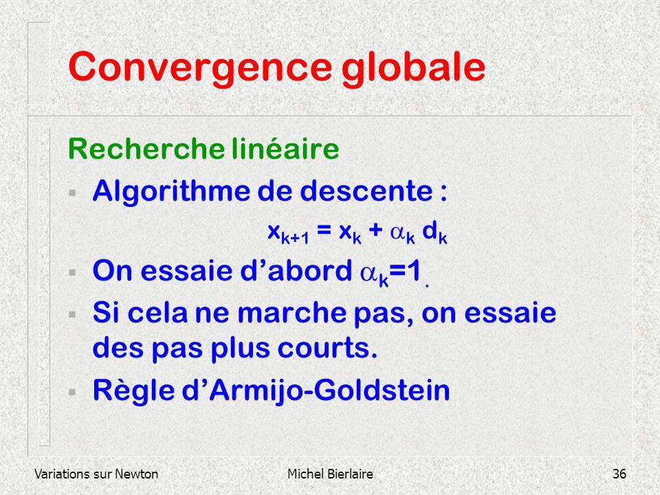 Variations sur NewtonMichel Bierlaire36 Convergence globale Recherche linéaire Algorithme de descente : x k+1 = x k + k d k On essaie dabord k =1. Si