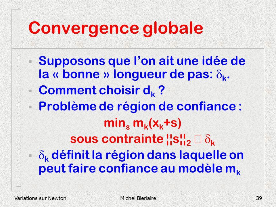 Variations sur NewtonMichel Bierlaire39 Convergence globale Supposons que lon ait une idée de la « bonne » longueur de pas: k. Comment choisir d k ? P