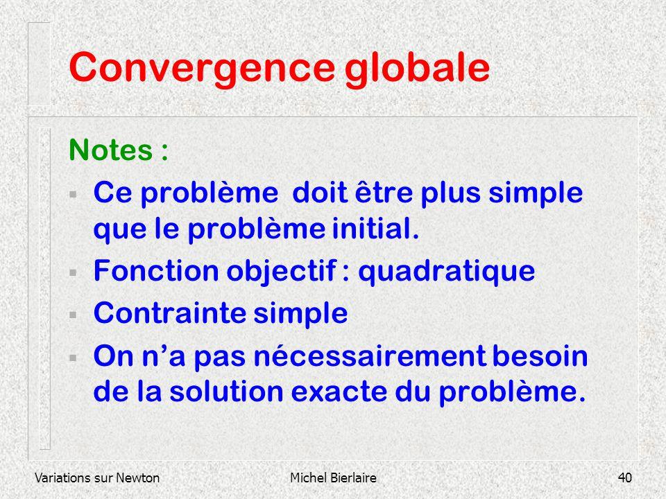 Variations sur NewtonMichel Bierlaire40 Convergence globale Notes : Ce problème doit être plus simple que le problème initial. Fonction objectif : qua
