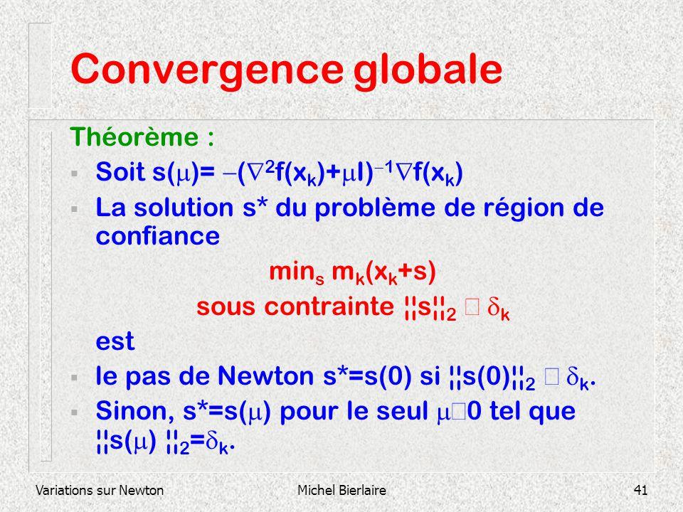 Variations sur NewtonMichel Bierlaire41 Convergence globale Théorème : Soit s( )= ( 2 f(x k )+ I) 1 f(x k ) La solution s* du problème de région de co