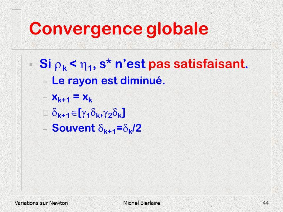 Variations sur NewtonMichel Bierlaire44 Convergence globale Si k < 1, s* nest pas satisfaisant. – Le rayon est diminué. – x k+1 = x k – k+1 [ 1 k, 2 k