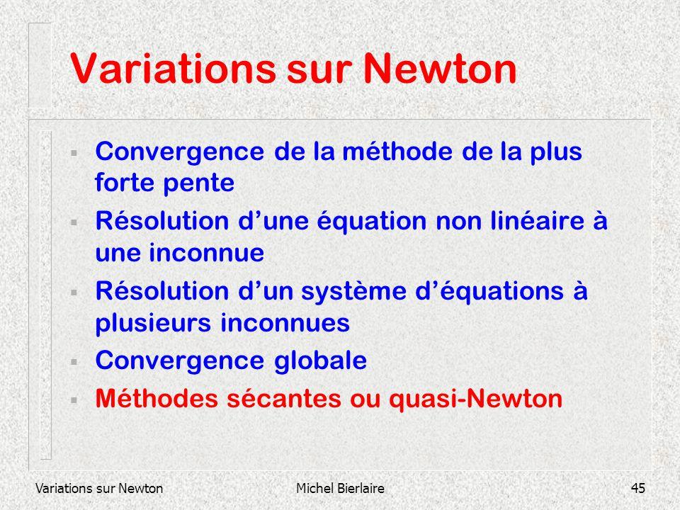 Variations sur NewtonMichel Bierlaire45 Variations sur Newton Convergence de la méthode de la plus forte pente Résolution dune équation non linéaire à