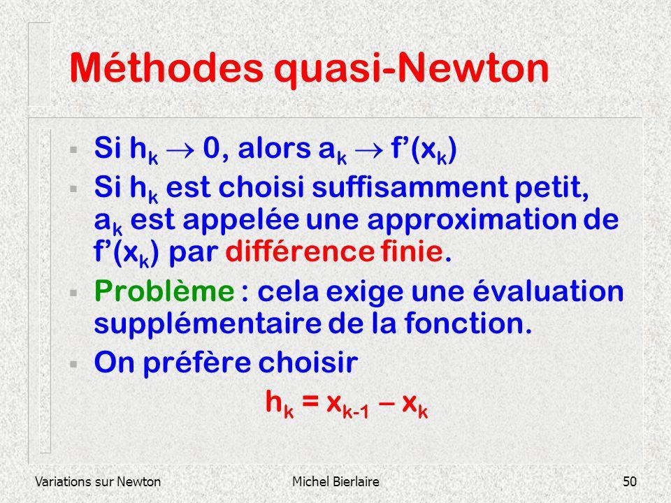 Variations sur NewtonMichel Bierlaire50 Méthodes quasi-Newton Si h k 0, alors a k f(x k ) Si h k est choisi suffisamment petit, a k est appelée une ap