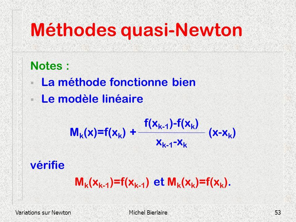 Variations sur NewtonMichel Bierlaire53 Méthodes quasi-Newton Notes : La méthode fonctionne bien Le modèle linéaire M k (x)=f(x k ) + (x-x k ) vérifie