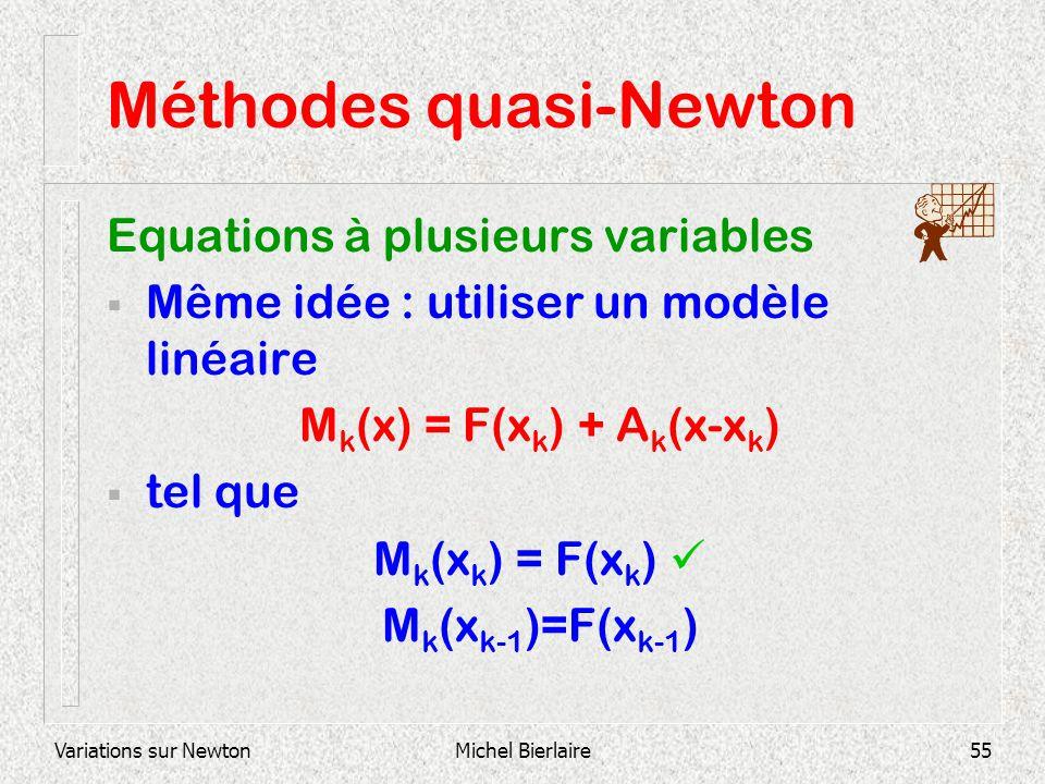 Variations sur NewtonMichel Bierlaire55 Méthodes quasi-Newton Equations à plusieurs variables Même idée : utiliser un modèle linéaire M k (x) = F(x k