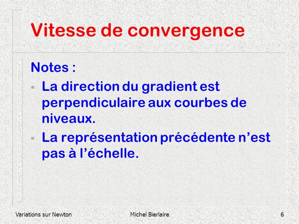 Variations sur NewtonMichel Bierlaire6 Vitesse de convergence Notes : La direction du gradient est perpendiculaire aux courbes de niveaux. La représen