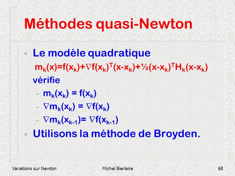 Variations sur NewtonMichel Bierlaire68 Méthodes quasi-Newton Le modèle quadratique m k (x)=f(x k )+ f(x k ) T (x-x k )+½(x-x k ) T H k (x-x k ) vérif