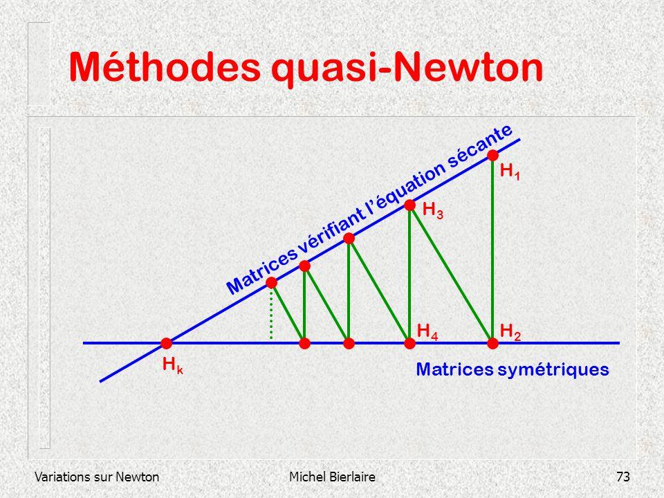 Variations sur NewtonMichel Bierlaire73 Méthodes quasi-Newton Matrices symétriques Matrices vérifiant léquation sécante H1H1 H2H2 H3H3 H4H4 HkHk