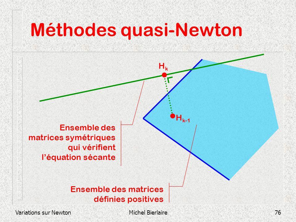 Variations sur NewtonMichel Bierlaire76 Méthodes quasi-Newton Ensemble des matrices définies positives Ensemble des matrices symétriques qui vérifient