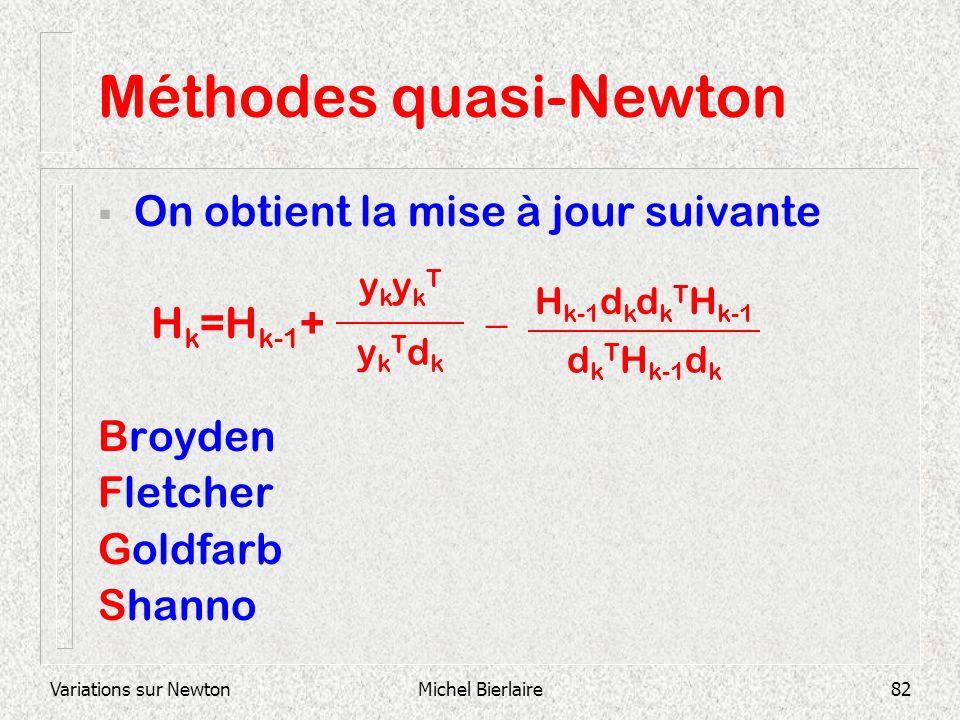 Variations sur NewtonMichel Bierlaire82 Méthodes quasi-Newton On obtient la mise à jour suivante H k =H k-1 + Broyden Fletcher Goldfarb Shanno ykTdkyk