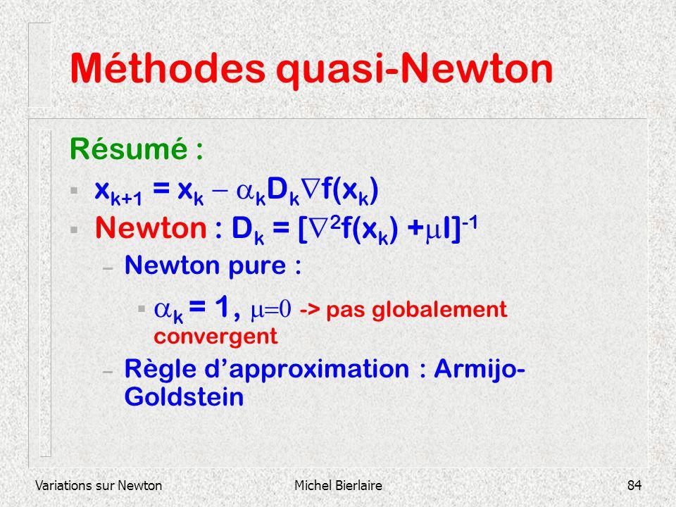 Variations sur NewtonMichel Bierlaire84 Méthodes quasi-Newton Résumé : x k+1 = x k k D k f(x k ) Newton : D k = [ 2 f(x k ) + I] -1 – Newton pure : k