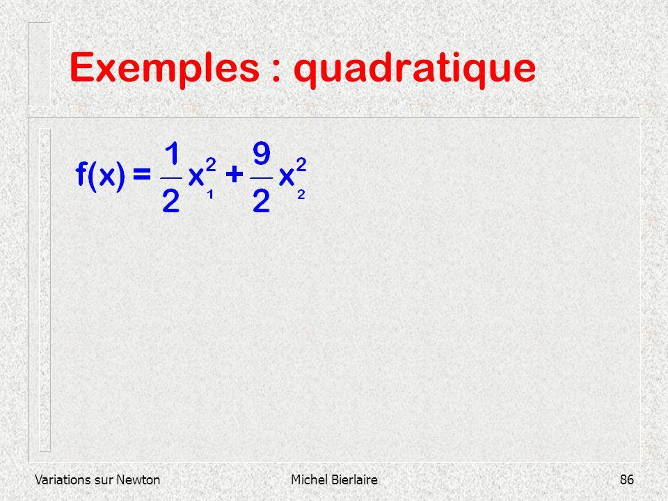 Variations sur NewtonMichel Bierlaire86 Exemples : quadratique