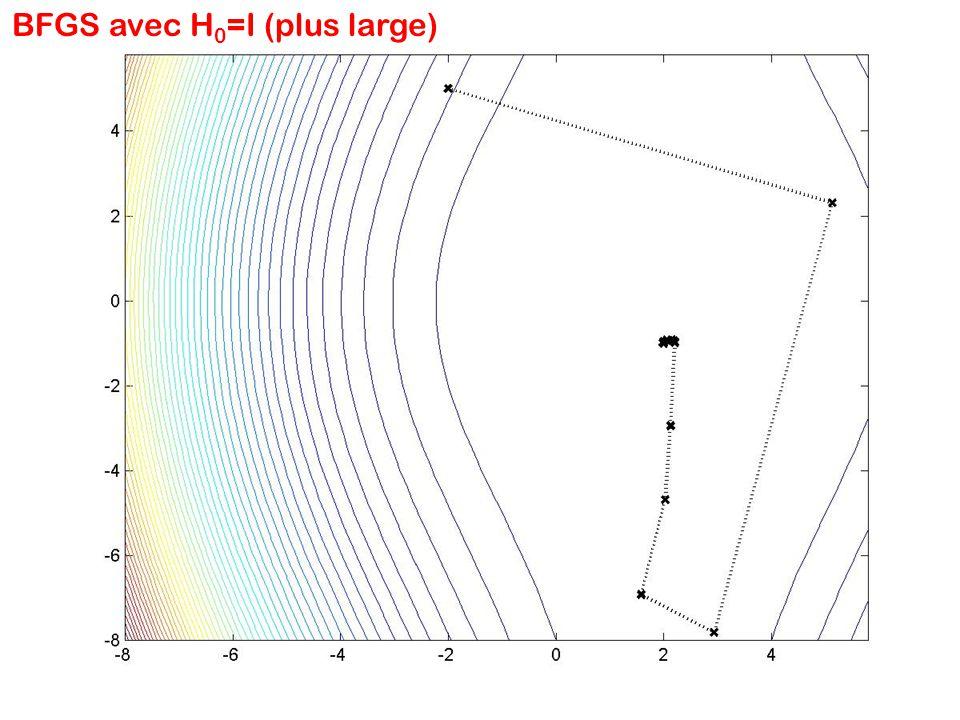 BFGS avec H 0 =I (plus large)