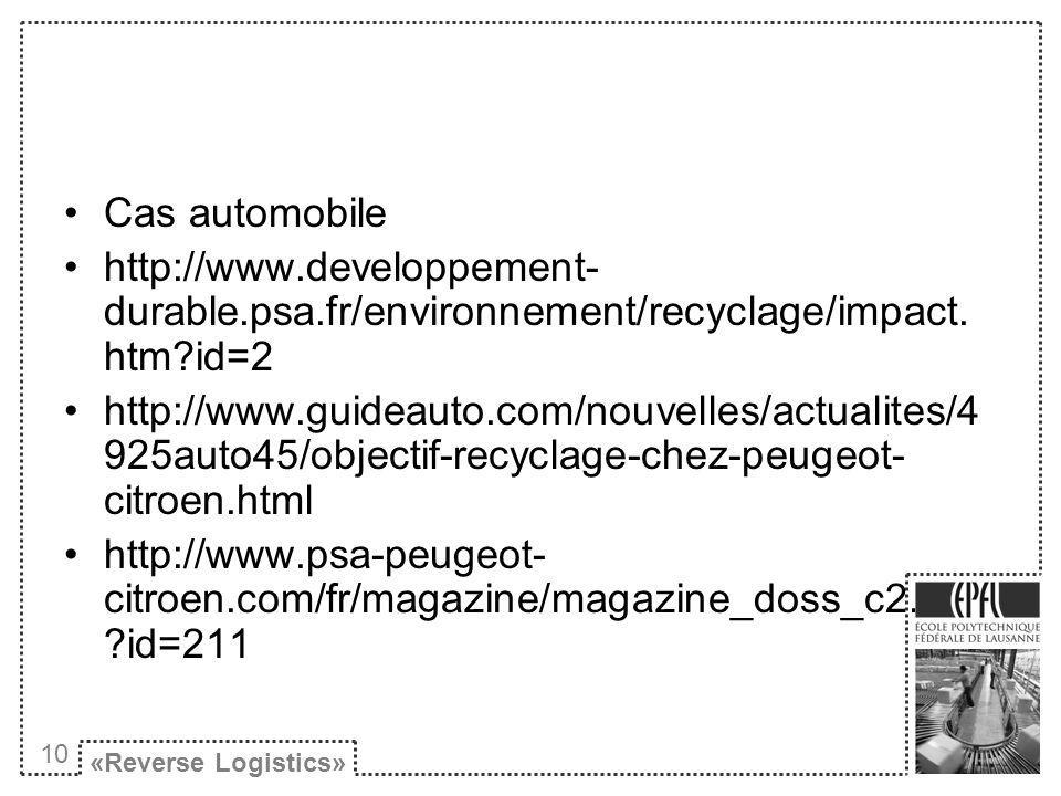 Cas automobile http://www.developpement- durable.psa.fr/environnement/recyclage/impact.