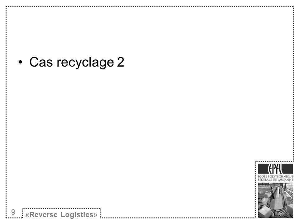 Cas recyclage 2 «Reverse Logistics» 9