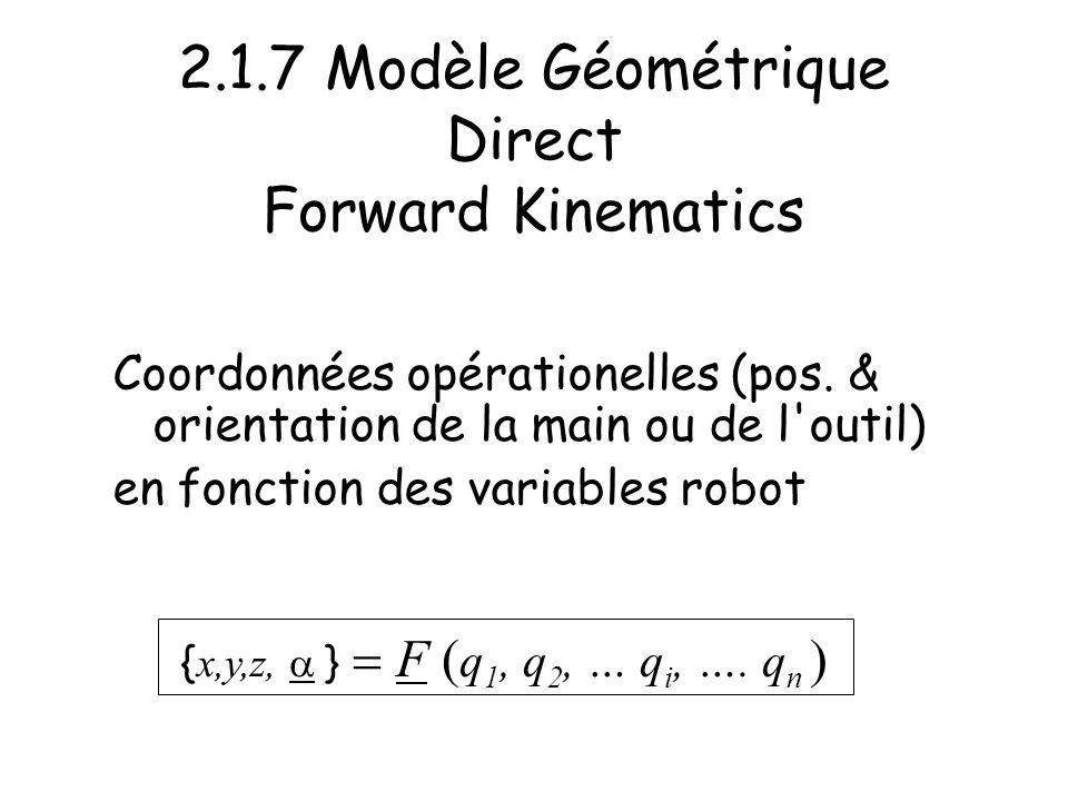 2.1.7 Modèle Géométrique Direct Forward Kinematics Coordonnées opérationelles (pos. & orientation de la main ou de l'outil) en fonction des variables