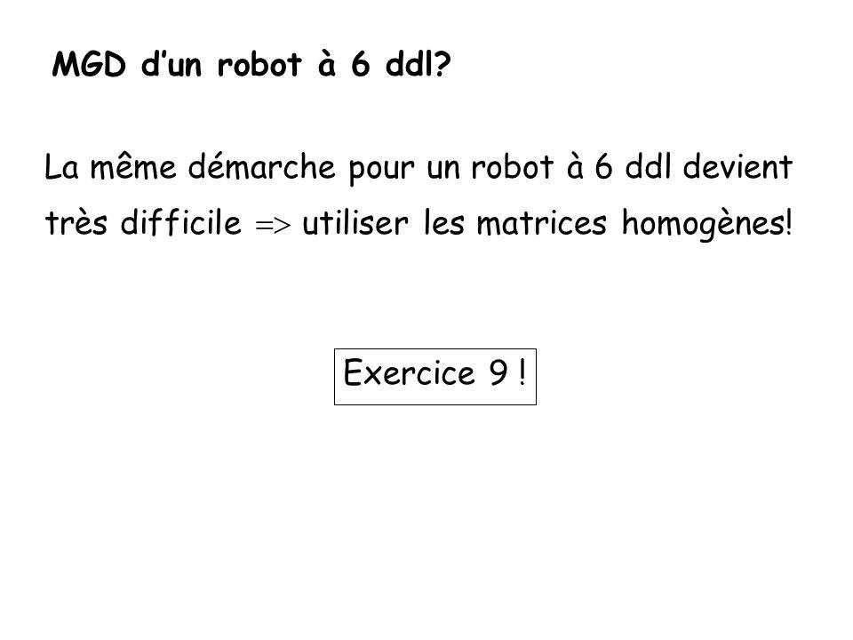 MGD dun robot à 6 ddl? La même démarche pour un robot à 6 ddl devient très difficile utiliser les matrices homogènes! Exercice 9 !