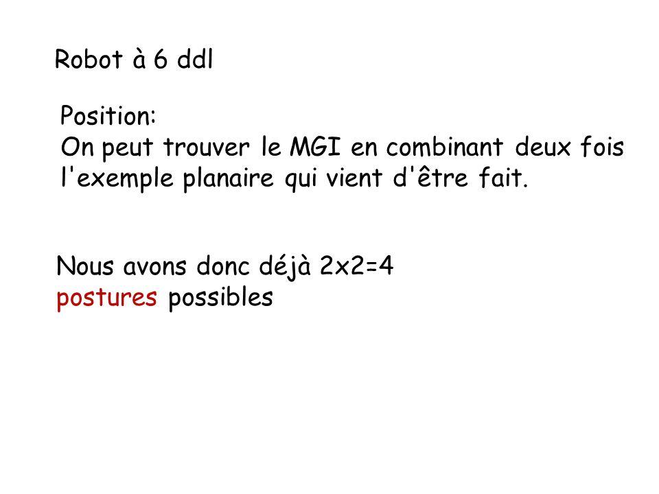 Robot à 6 ddl Position: On peut trouver le MGI en combinant deux fois l'exemple planaire qui vient d'être fait. Nous avons donc déjà 2x2=4 postures po