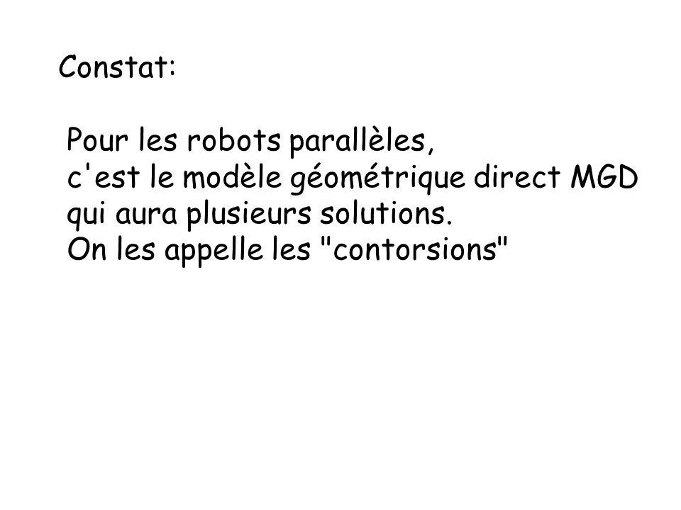 Constat: Pour les robots parallèles, c'est le modèle géométrique direct MGD qui aura plusieurs solutions. On les appelle les
