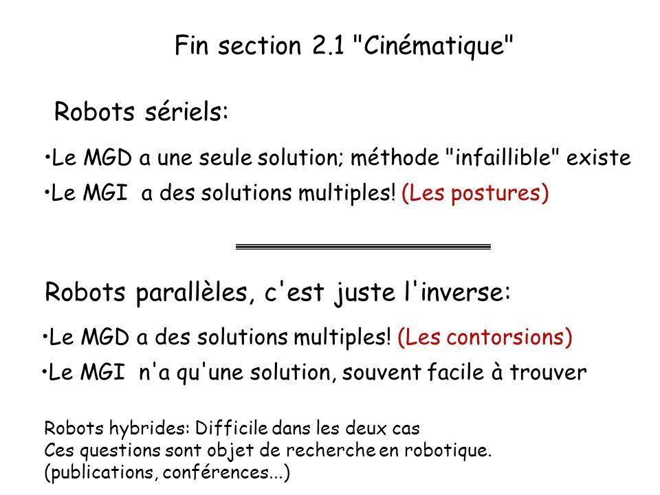 Fin section 2.1 Cinématique Le MGI n a qu une solution, souvent facile à trouver Le MGD a des solutions multiples.