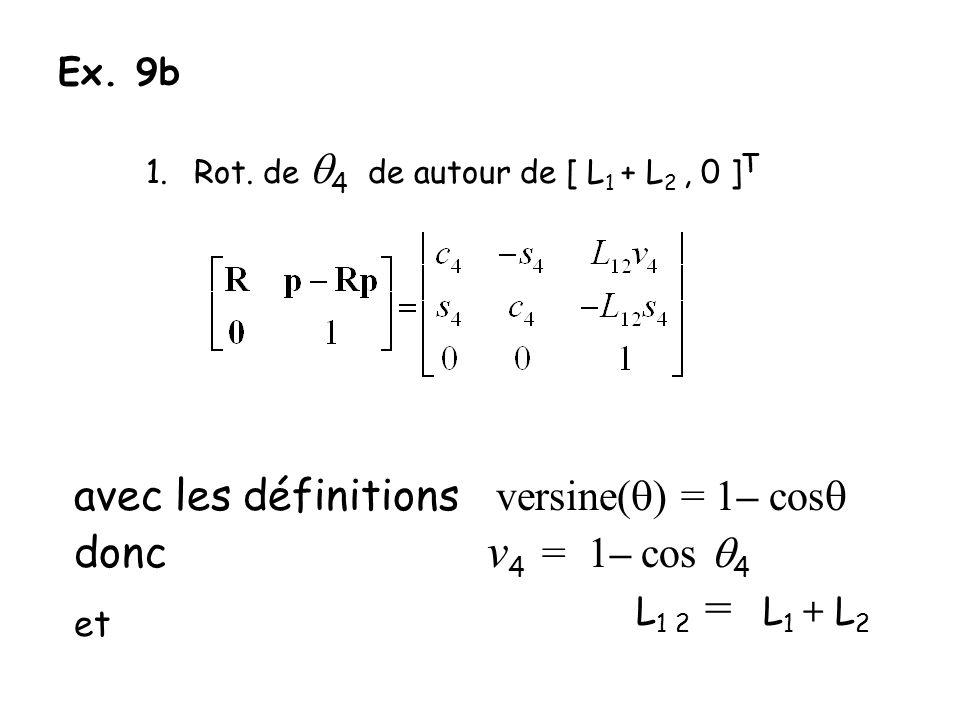 Ex. 9b 1.Rot. de 4 de autour de [ L 1 + L 2, 0 ] T avec les définitions versine( ) = 1– cos donc v 4 = – cos 4 et L 1 2 = L 1 + L 2