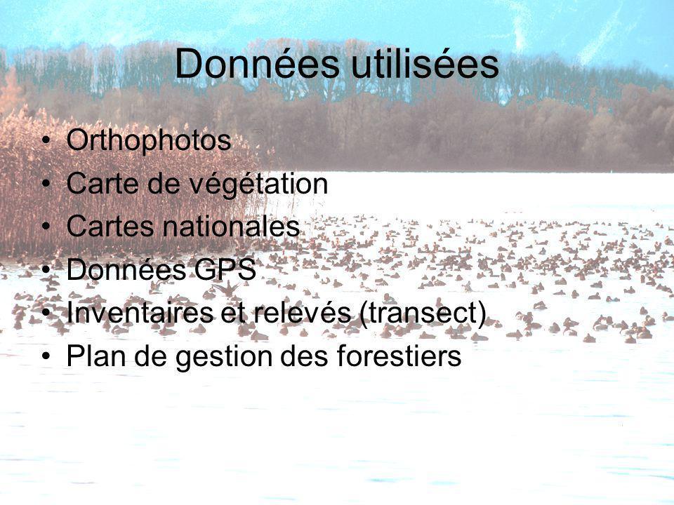Données utilisées Orthophotos Carte de végétation Cartes nationales Données GPS Inventaires et relevés (transect) Plan de gestion des forestiers