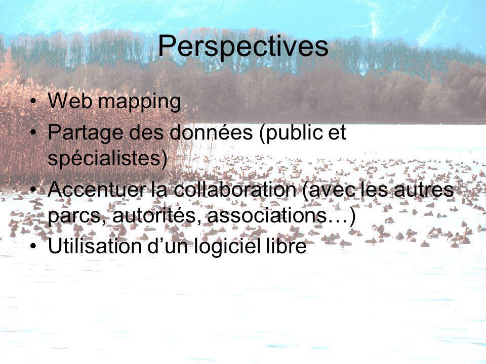 Perspectives Web mapping Partage des données (public et spécialistes) Accentuer la collaboration (avec les autres parcs, autorités, associations…) Uti