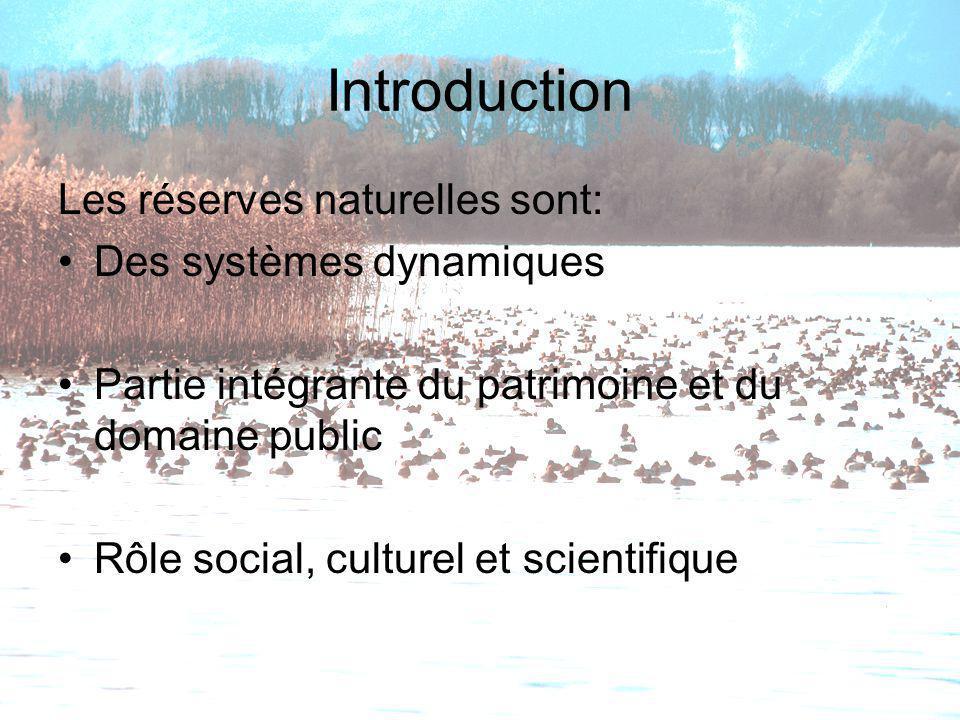 Introduction Les réserves naturelles sont: Des systèmes dynamiques Partie intégrante du patrimoine et du domaine public Rôle social, culturel et scien