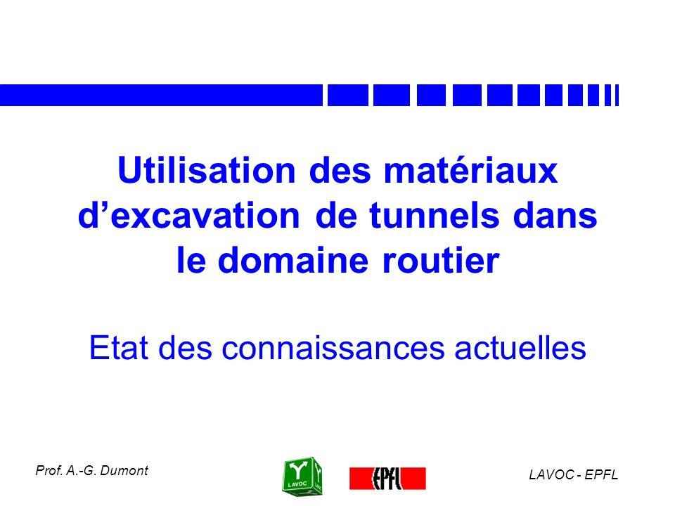 LAVOC - EPFL Prof. A.-G. Dumont Aptitude technique des principales formations calcaires du Jura