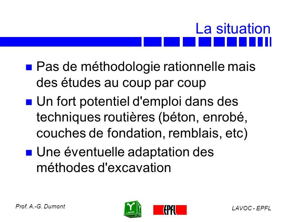 LAVOC - EPFL Prof. A.-G. Dumont Quantité de matériaux recyclables