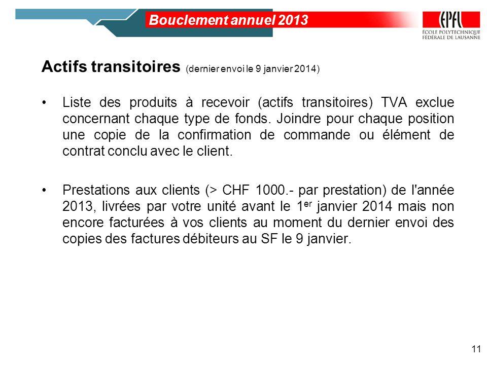Actifs transitoires (dernier envoi le 9 janvier 2014) Liste des produits à recevoir (actifs transitoires) TVA exclue concernant chaque type de fonds.