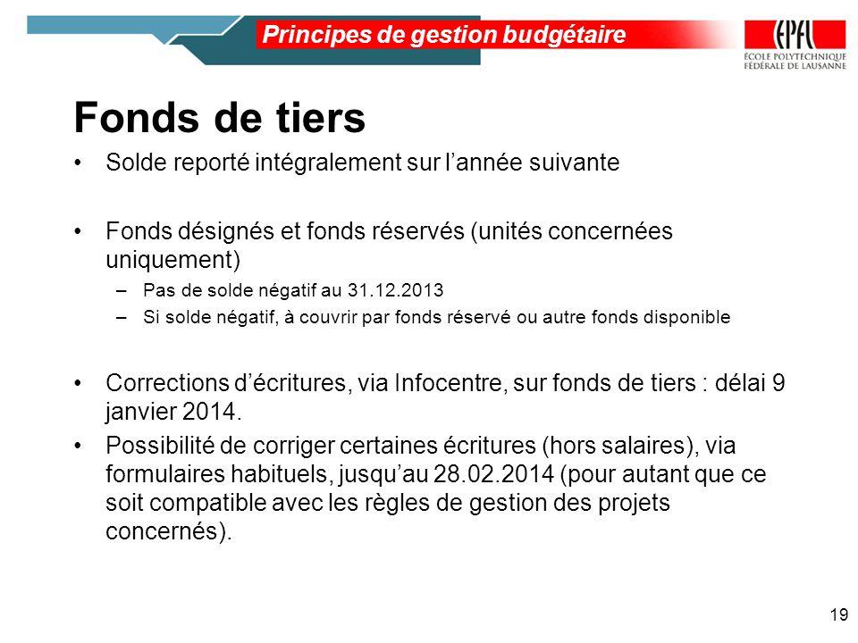 Principes de gestion budgétaire 19 Fonds de tiers Solde reporté intégralement sur lannée suivante Fonds désignés et fonds réservés (unités concernées