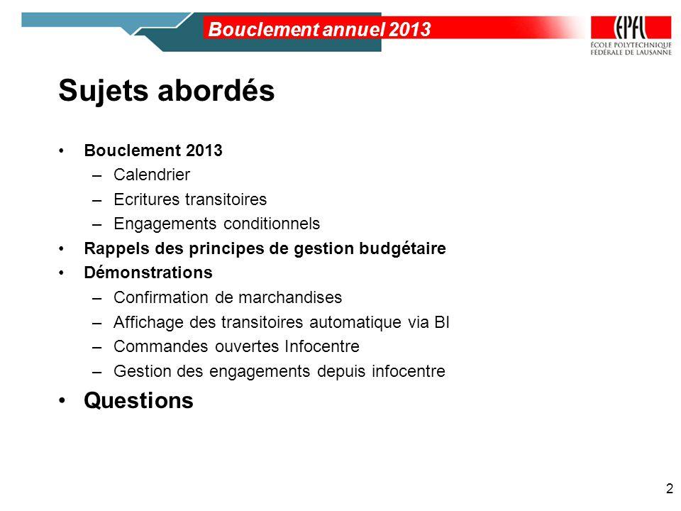 Sujets abordés Bouclement 2013 –Calendrier –Ecritures transitoires –Engagements conditionnels Rappels des principes de gestion budgétaire Démonstratio